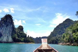 Thailand cliffs and bow of boat